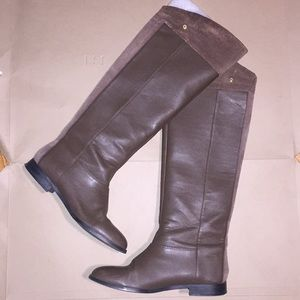 Brown Leather & Suede Knee High Boot